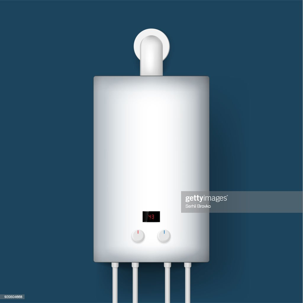 Home gas boiler, water heater. 3D rendering. isolated on background. Vector illustration.