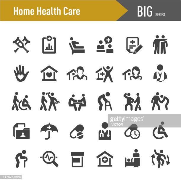 illustrations, cliparts, dessins animés et icônes de icônes de soins de santé à domicile - big series - maison de retraite