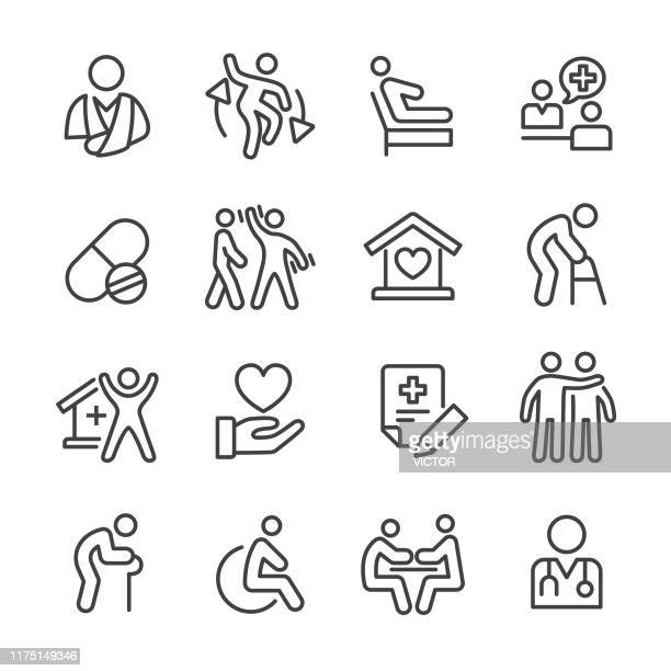 home health care icons - line series - the ageing process stock illustrations
