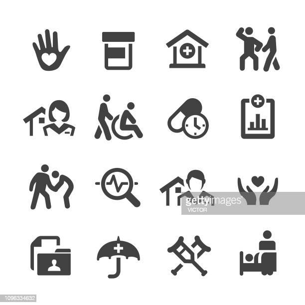 home health care icons set - acme series - disability stock illustrations, clip art, cartoons, & icons