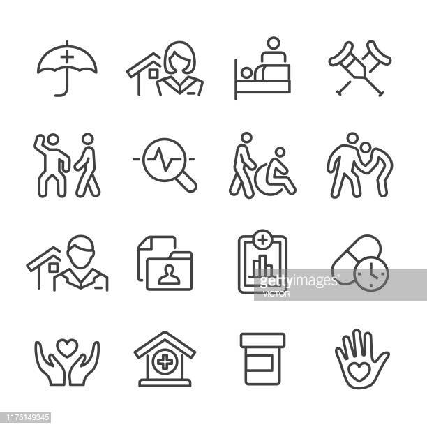 home health care icons set - line series - healthcare worker stock illustrations
