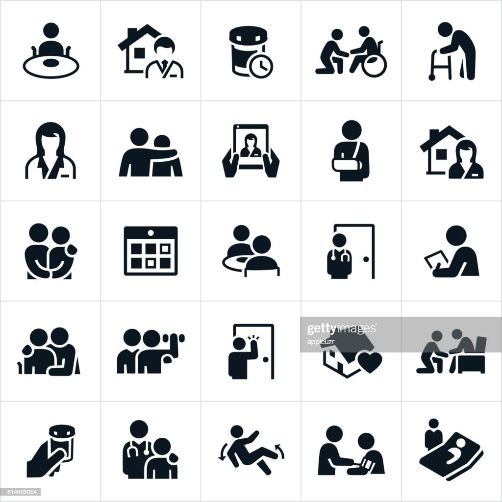 Home Health Care Icons : Stock Illustration