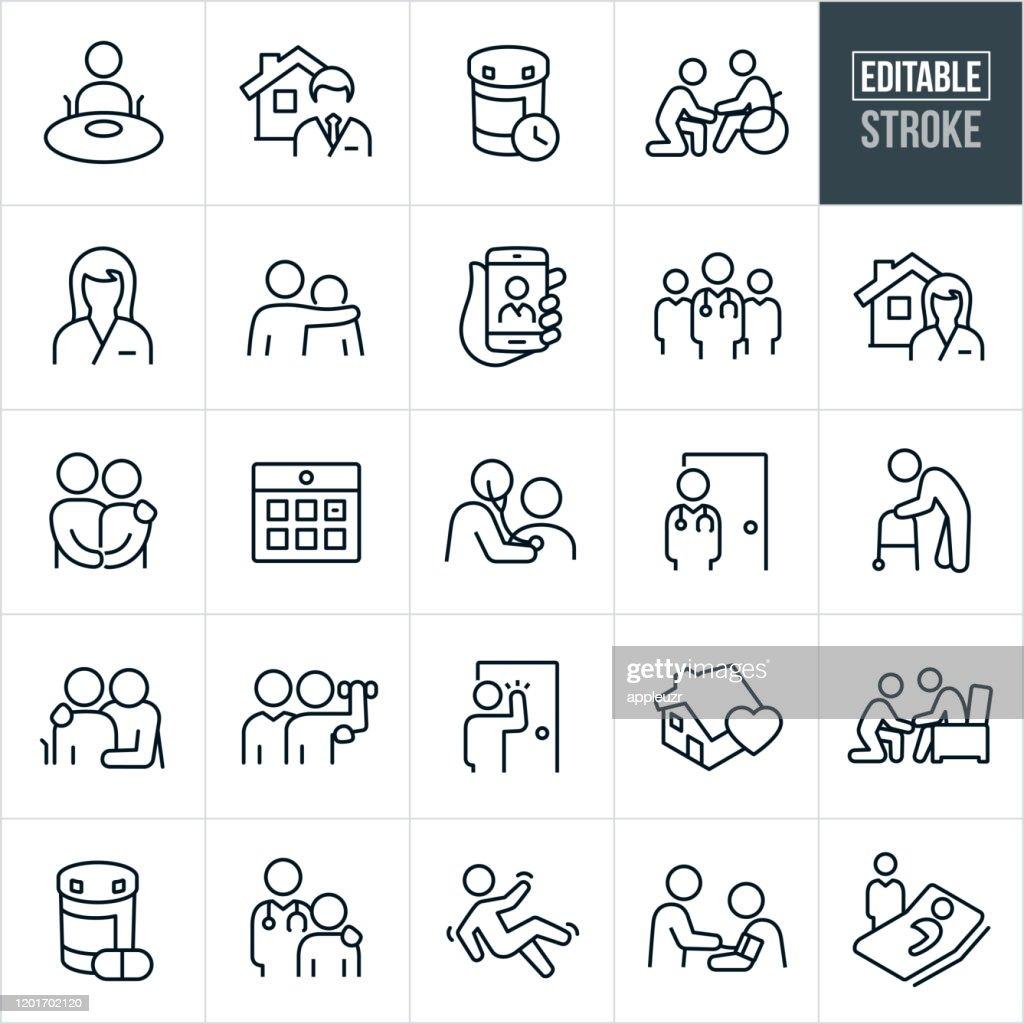 Home Health Thin Line Icons - Editable Stroke : stock illustration