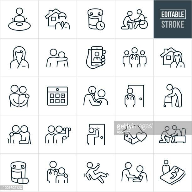 home health thin line icons - editable stroke - care stock illustrations