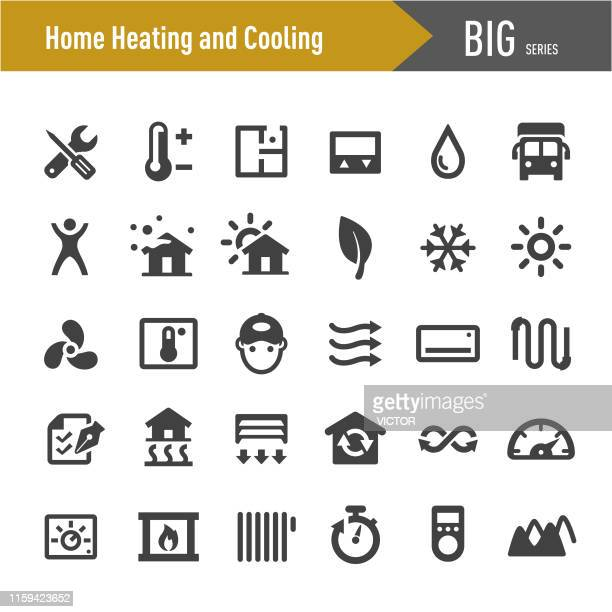 home heating and cooling icons - big series - heatwave stock illustrations