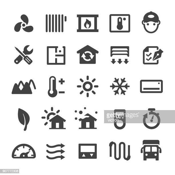 home heating and cooling icons - smart series - temperature stock illustrations