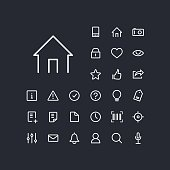 Home icon in set on the black background.