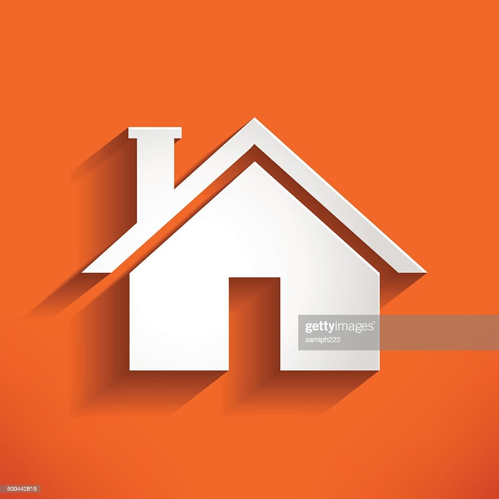 Home Icon on orange backround. house Vector Illustration