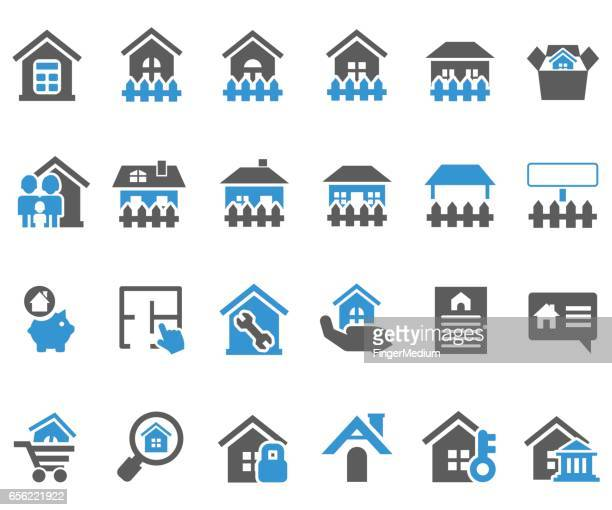 home icon set - legal document stock illustrations, clip art, cartoons, & icons