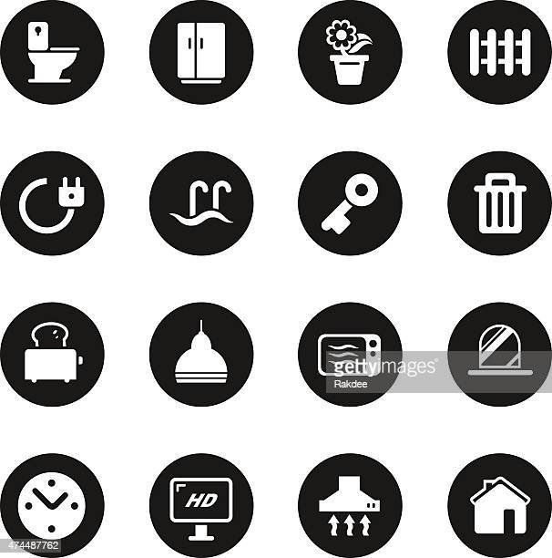 home icons - black circle series - exhaust fan stock illustrations, clip art, cartoons, & icons