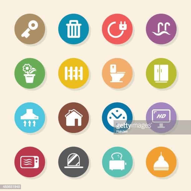 home icons - color circle series - exhaust fan stock illustrations, clip art, cartoons, & icons