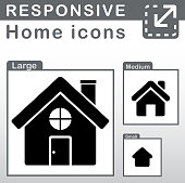 home icons in three sizes