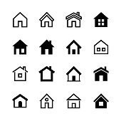 Home icons set, Homepage - website or real estate symbol
