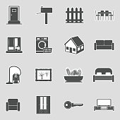 Home Icons. Sticker Design. Vector Illustration.