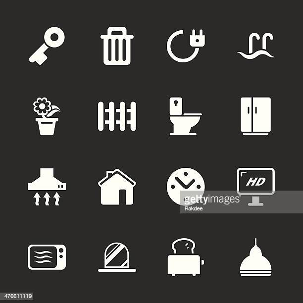 home icons - white series | eps10 - exhaust fan stock illustrations, clip art, cartoons, & icons