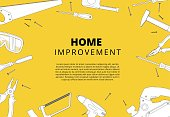 Home improvement background with repair tools. House constructio