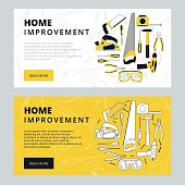 Home improvement corporate web banner template. House constructi