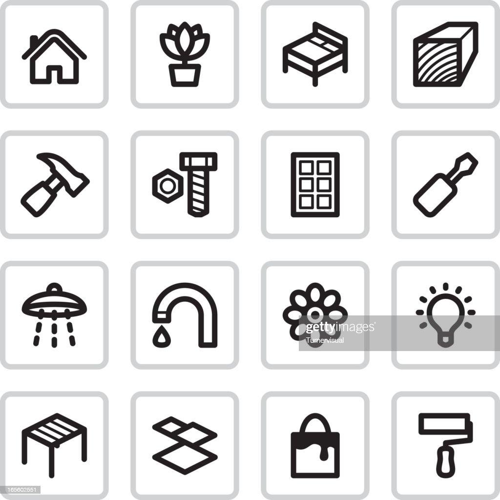 Home Improvement Icons   Black