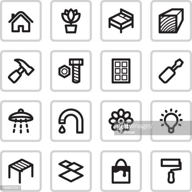 ilustraciones, imágenes clip art, dibujos animados e iconos de stock de bricolaje iconos/negro - bricolaje