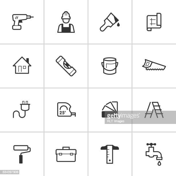 home improvement icons — inky series - tape measure stock illustrations, clip art, cartoons, & icons