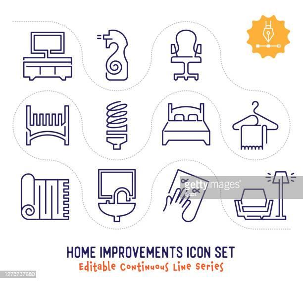 ilustrações de stock, clip art, desenhos animados e ícones de home improvements editable continuous line icon pack - continuidade