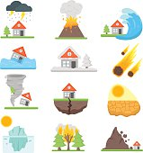 Home insurance business set vector illustration with house icons suffering