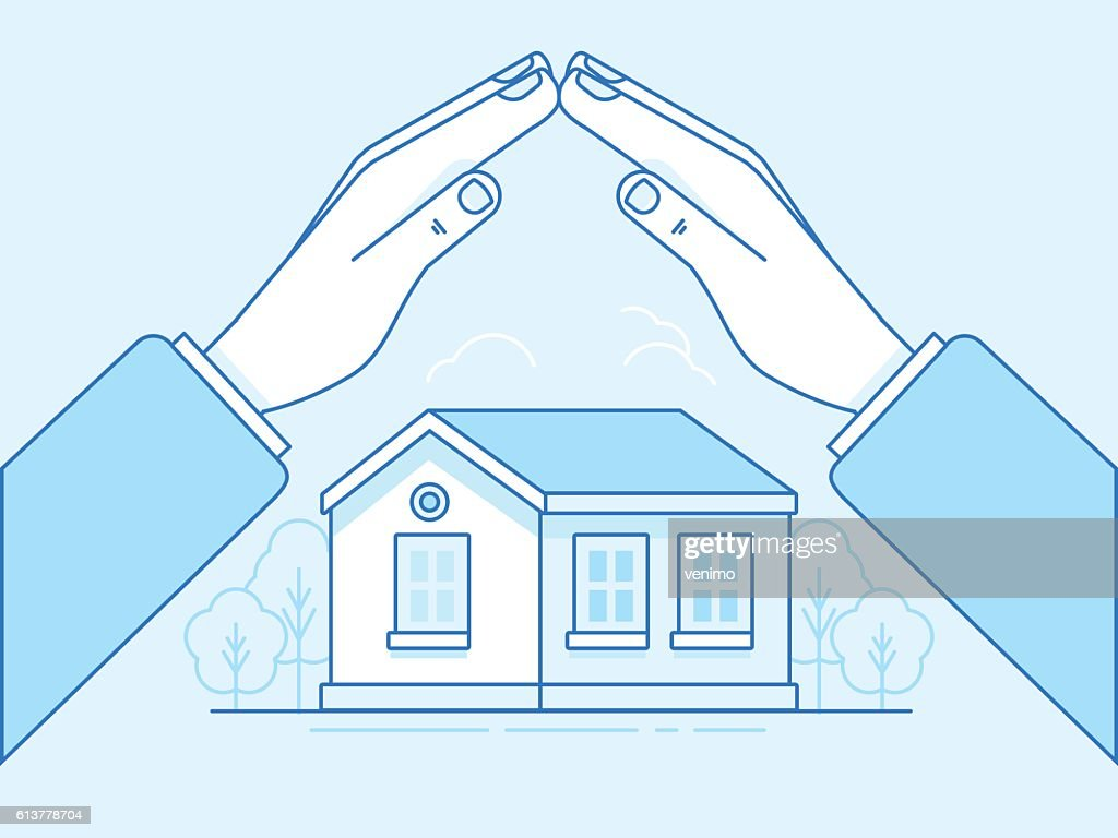 Home insurance concept - illustration and infographics design el