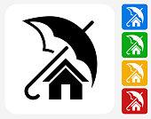 Home Insurance Icon Flat Graphic Design