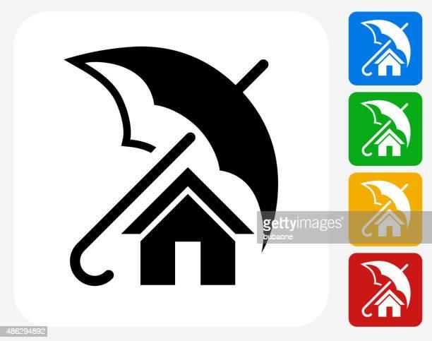 Seguro de hogar iconos planos de diseño gráfico