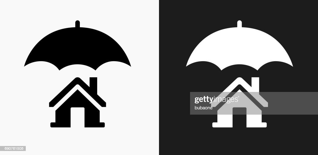 Home Insurance Icon on Black and White Vector Backgrounds : stock illustration