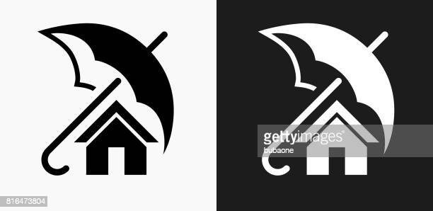 Home Insurance Icon on Black and White Vector Backgrounds