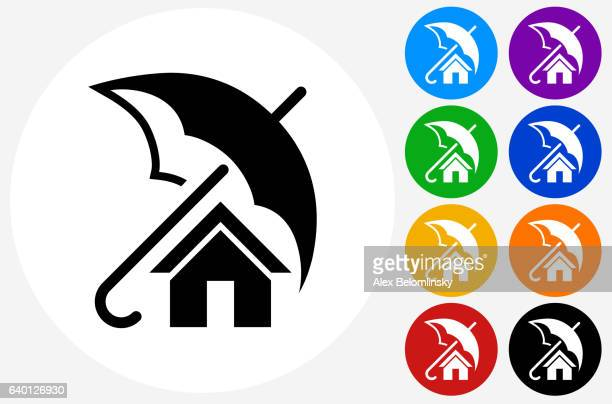 Home Insurance Icon on Flat Color Circle Buttons