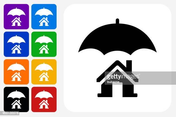 Home Insurance Icon Square Button Set