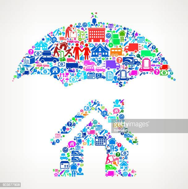 Home Insurance Moving and Relocation Icon Pattern