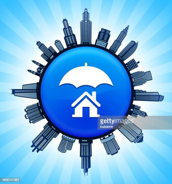 home insurance on modern cityscape skyline background - commercial real estate stock illustrations