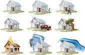 Home insurance. Property insurance. Big set house insurance