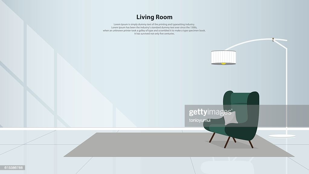 Home interior design with furniture. Living room with green armchair. Vector