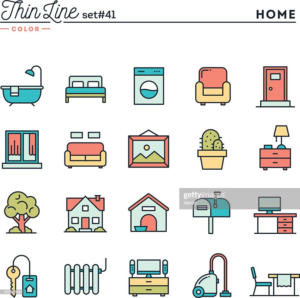 Home, interior, furniture and more, thin line color icons set