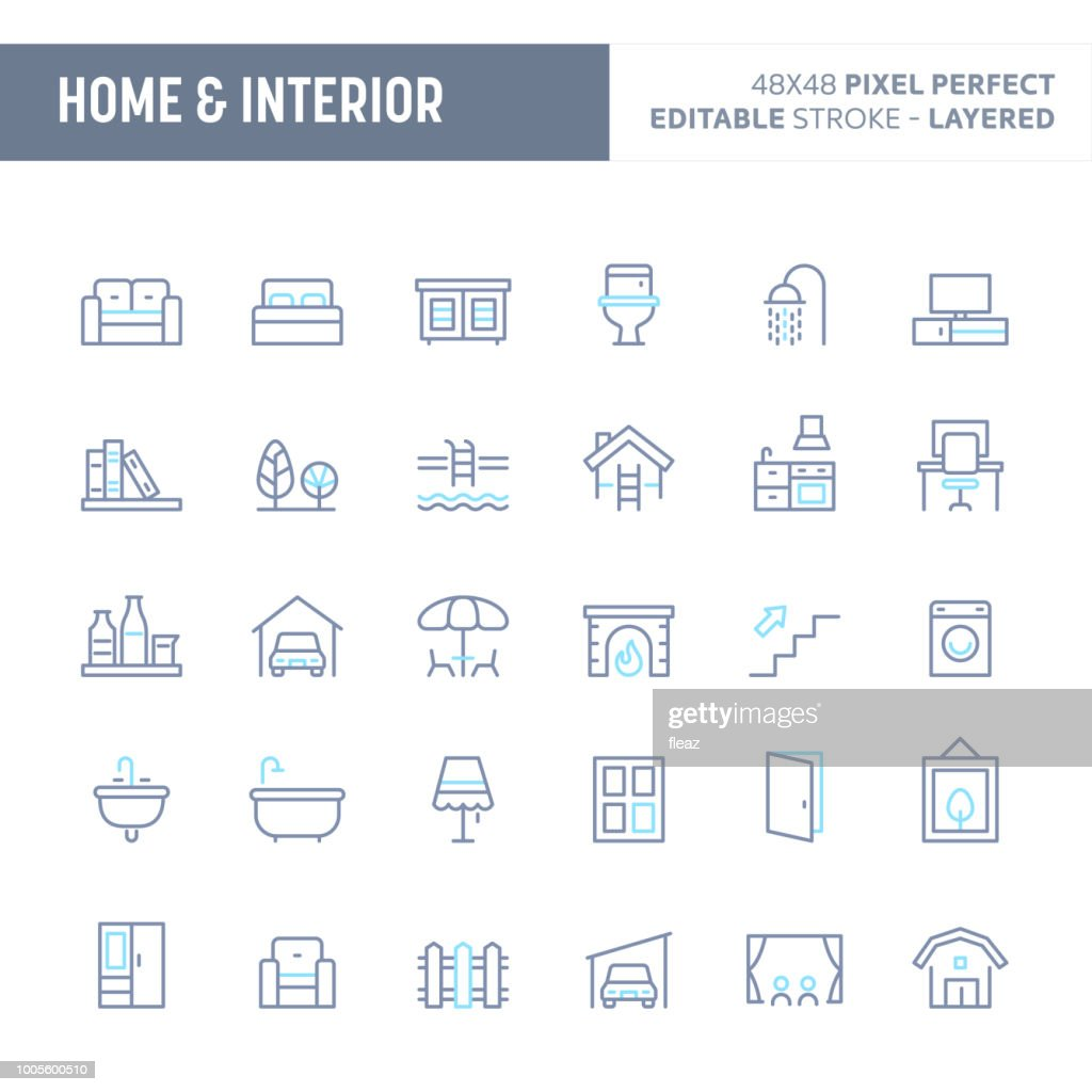 Home, Interior & Furniture Minimal Vector Icon Set (EPS 10)
