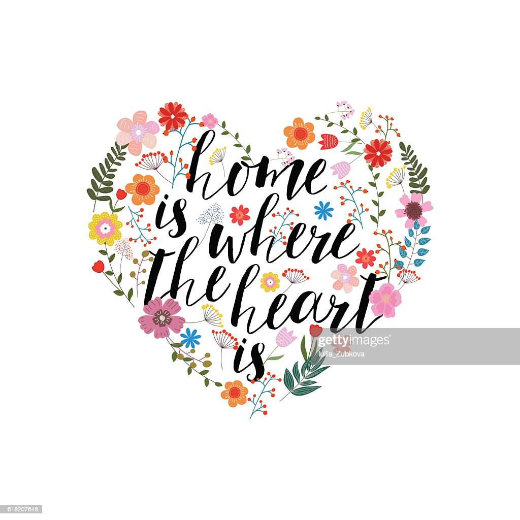 Home is the where heart  - hand drawn vector text