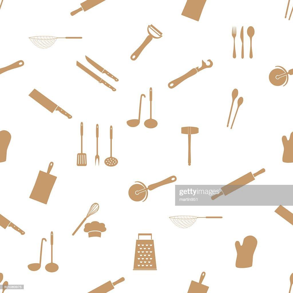 home kitchen cooking utensils seamless pattern eps10