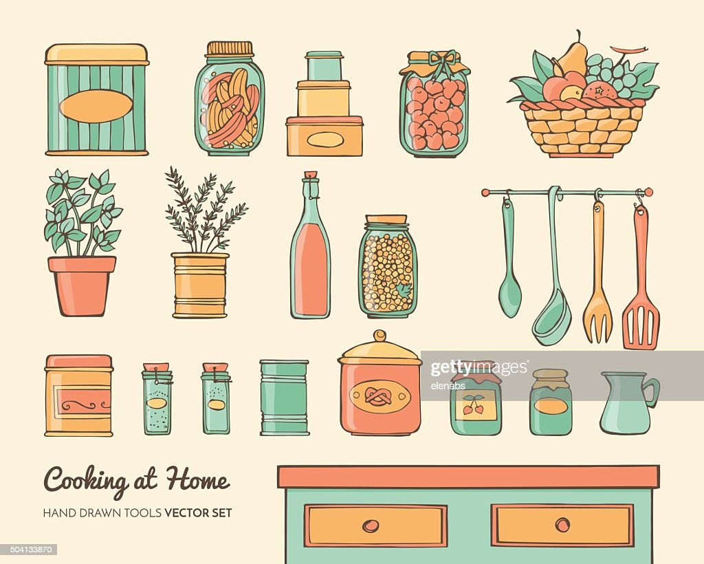 Home kitchen objects set