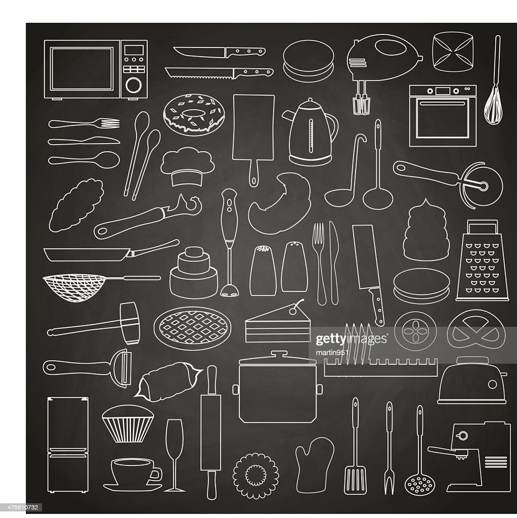 home kitchen tools and food outline icon on blackboard eps10