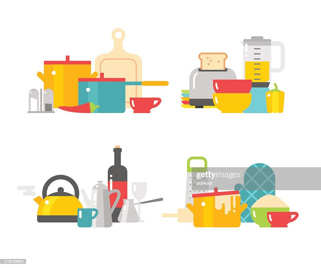 Home kitchenware devices in color vector flat illustration