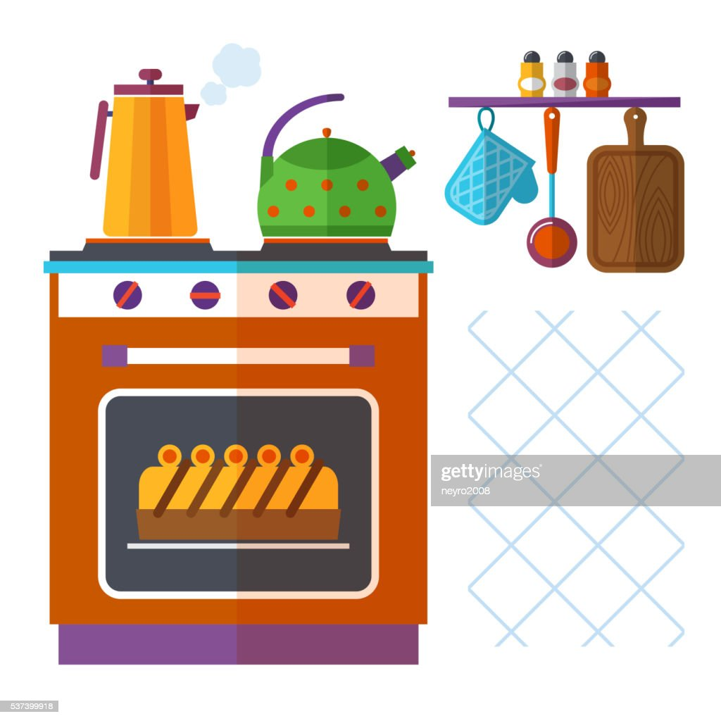 Home kitchenware vector concept with stove, kettle, coffee pot