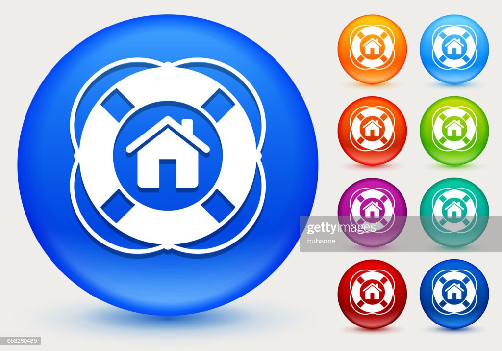 Home Life Saver Icon on Shiny Color Circle Buttons : Vector Art