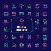 Home, Living, Interior & Furniture Gradient Line Icon Set (EPS 10)