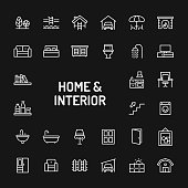 Home, Living, Interior & Furniture Simple Line Icon Set