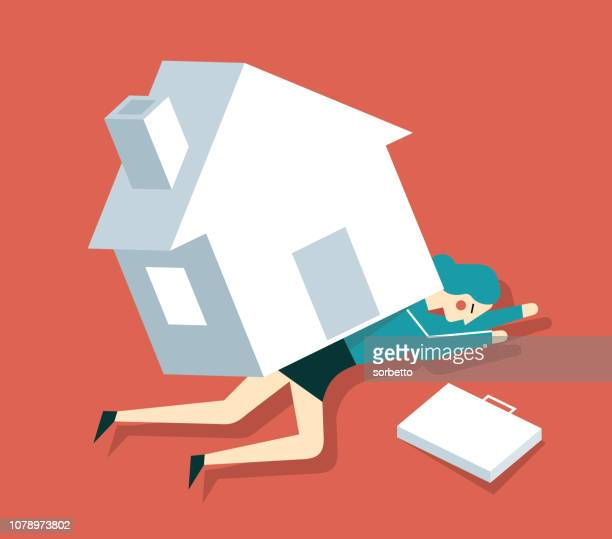 home loan - businesswoman - subprime loan crisis stock illustrations