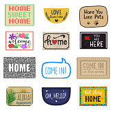 Home mat vector welcome doormat of front house entrance and doorway matting rug for visitors illustration household set of homecoming enter decoration isolated on white background